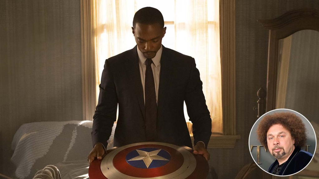 Anthony Mackie Falcon and shield with inset of Malcolm Spellman