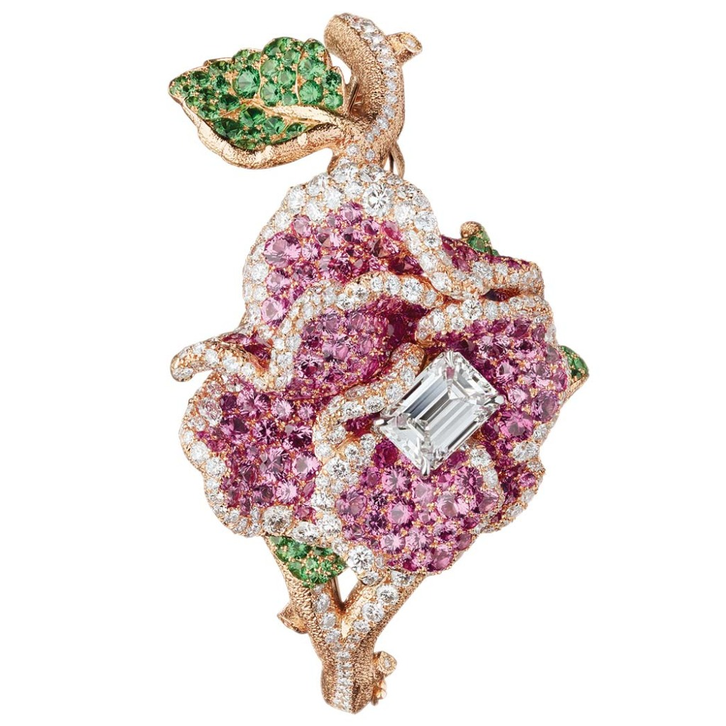 Dior: An emerald-cut diamond tops the RoseDior secret watch, embellishsed with pink sapphires, tsavorites and garnets. Ashley Madekwe is a fan of the brand; price upon request, special order at Dior, Beverly Hills.