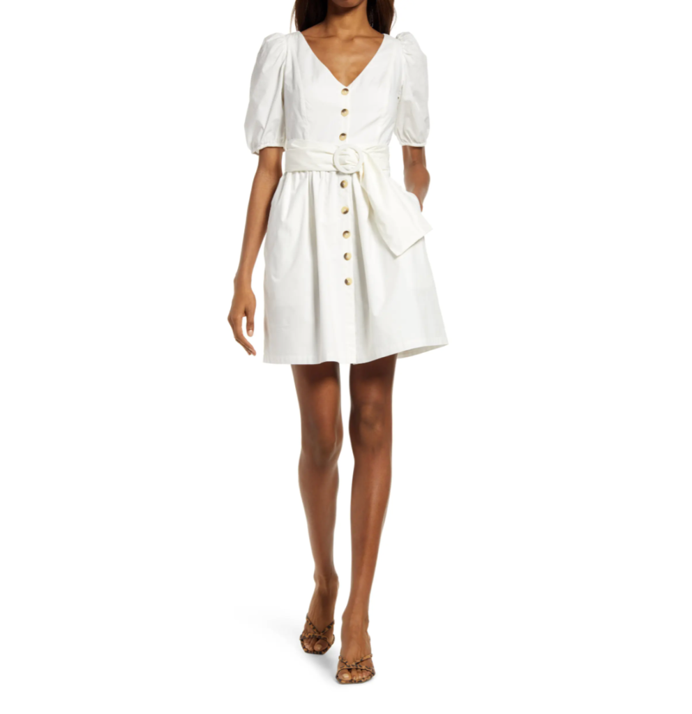 French Connection Besima Belted Cotton Poplin Dress
