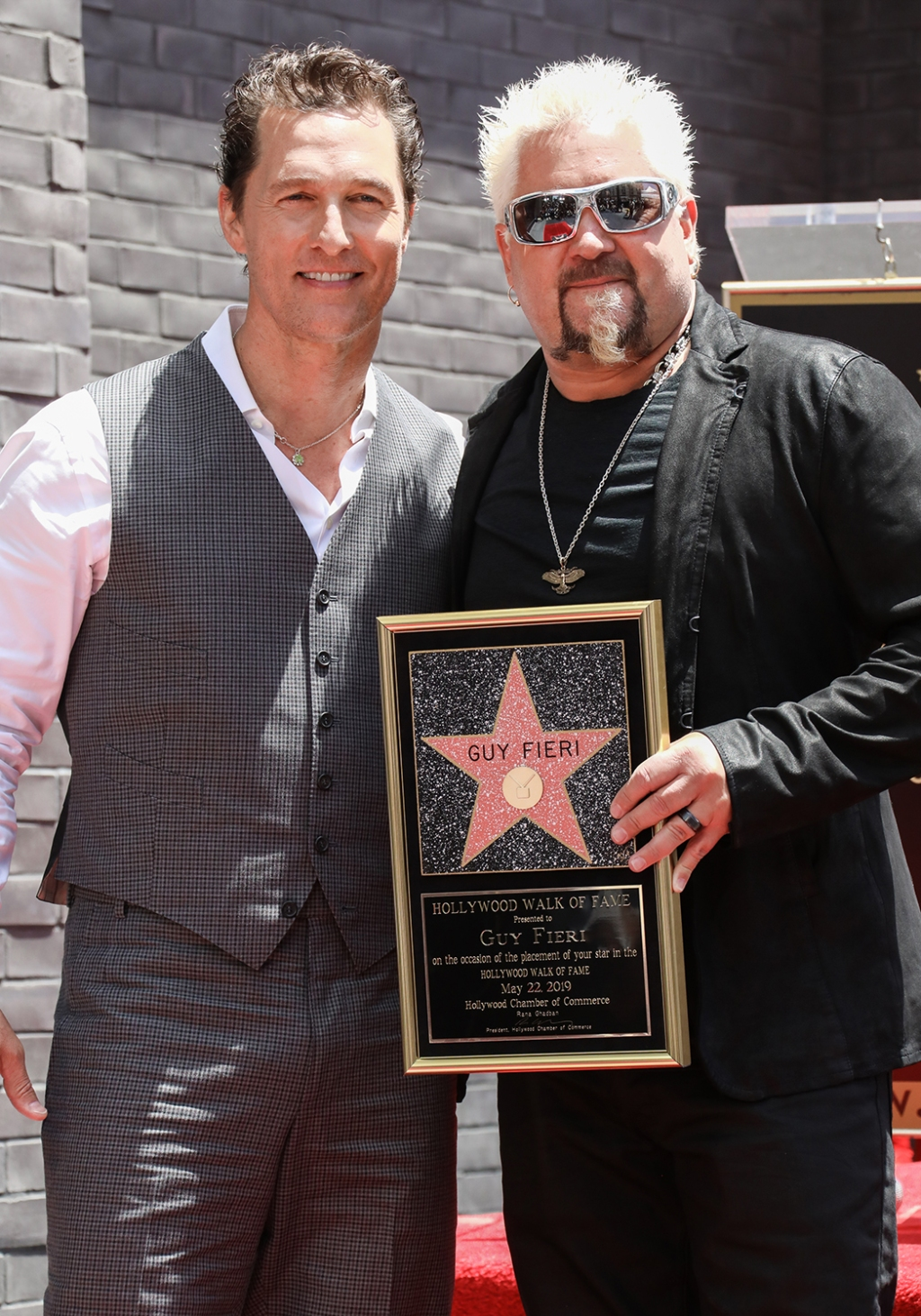 With longtime friend Matthew McConaughey (left) at the TV chef's Hollywood Walk of Fame Star ceremony in 2019