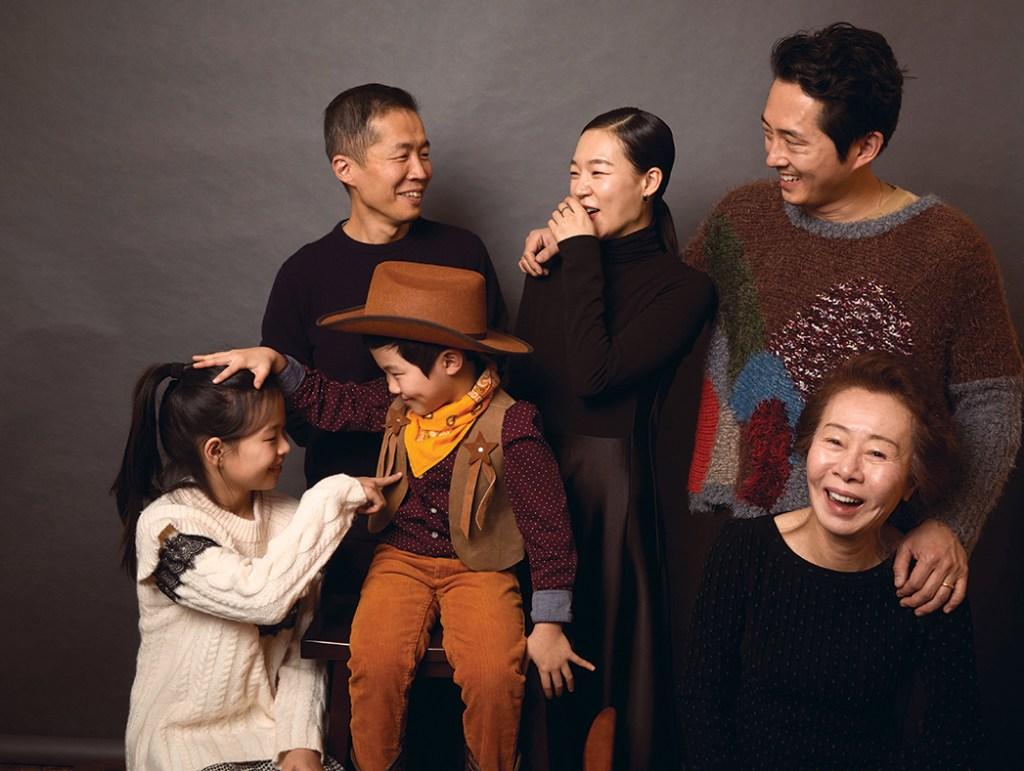 Isaac Chung with the cast of Minari: Noel Kate Cho, Alan S. Kim, Yeri Han, Yeun and Yuh-Jung Youn.