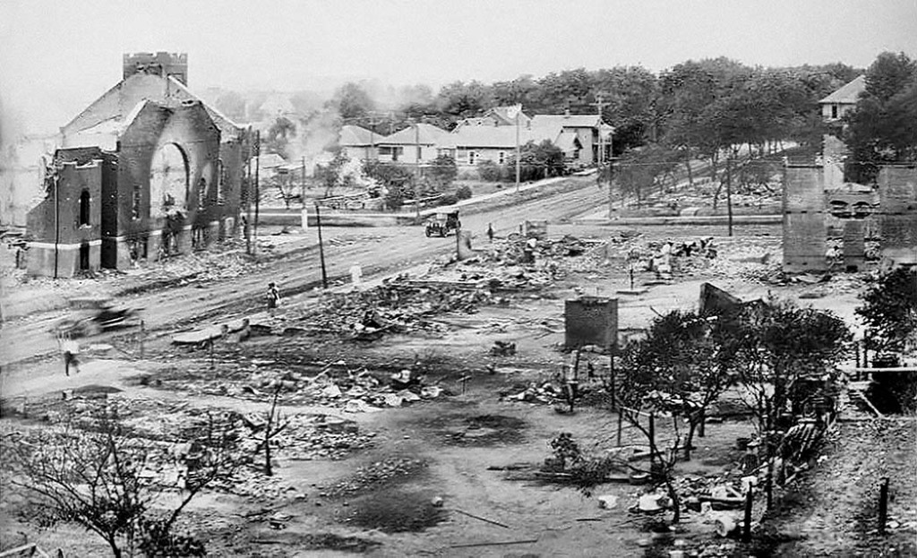 """Day references the 1921 massacre that took place in Tulsa, Oklahoma, nicknamed Black Wall Street for its prosperity: """"That was not a riot. We murdered an entire city of people."""""""