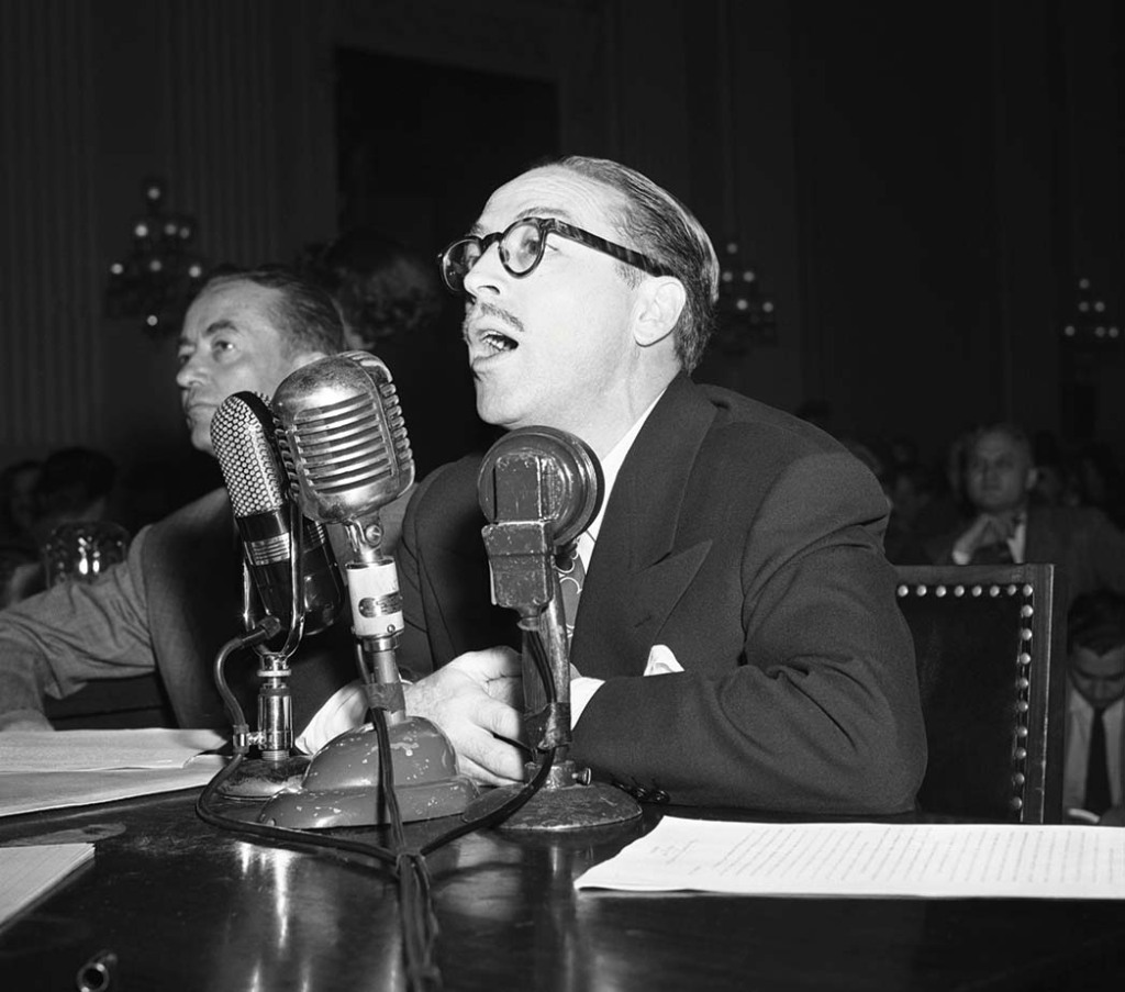 Trumbo before the House Un-American Activities Committee in 1947.