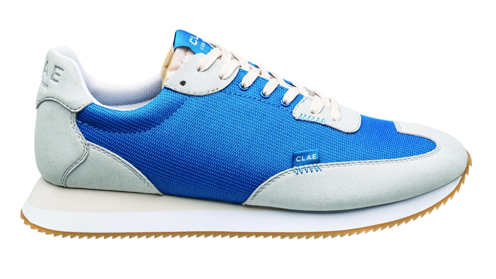 Clae - Runyon running shoe with recycled mesh upper and lining and vegan suede panels; $100, clae.com