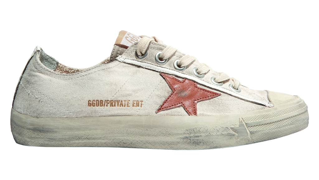 Golden Goose - V-Star distressed low-top women's sneakers made from recycled canvas and leather; $530, net-a-porter.com