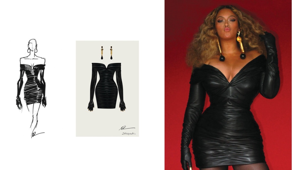 Beyoncé's Grammys look included earrings crafted of surrealist elements. left: Daniel Roseberry's sketches for the design.