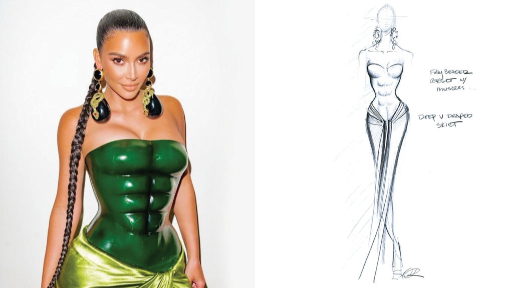 Kim Kardashian West wore a custom molded-bustier dress for Christmas 2020. and sketch of the dress