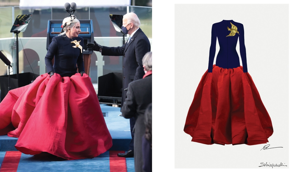 Lady Gaga, with Joe Biden at his inauguration, accented her gown with a golden dove brooch meant to symbolize peace. Right: a sketch by Roseberry for her look.