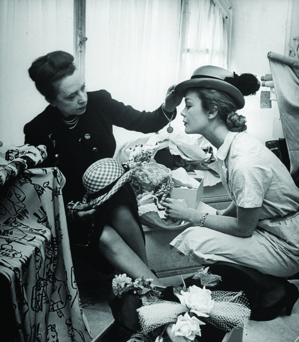 Elsa Schiaparelli (left) with a model in 1951