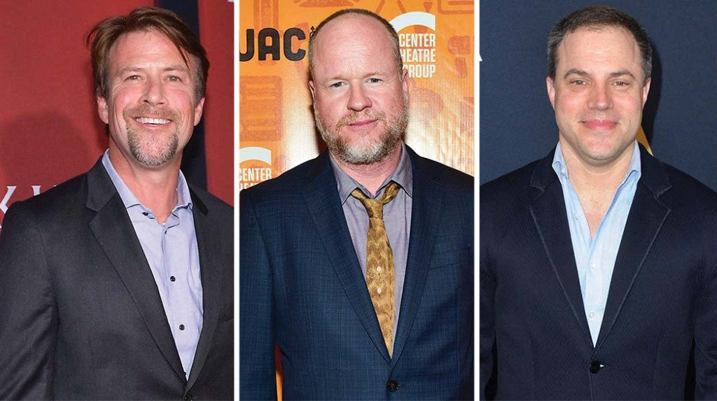 From left: Jon Berg, Joss Whedon and Geoff Johns steered 'Justice League' after helmer Zack Snyder departed.