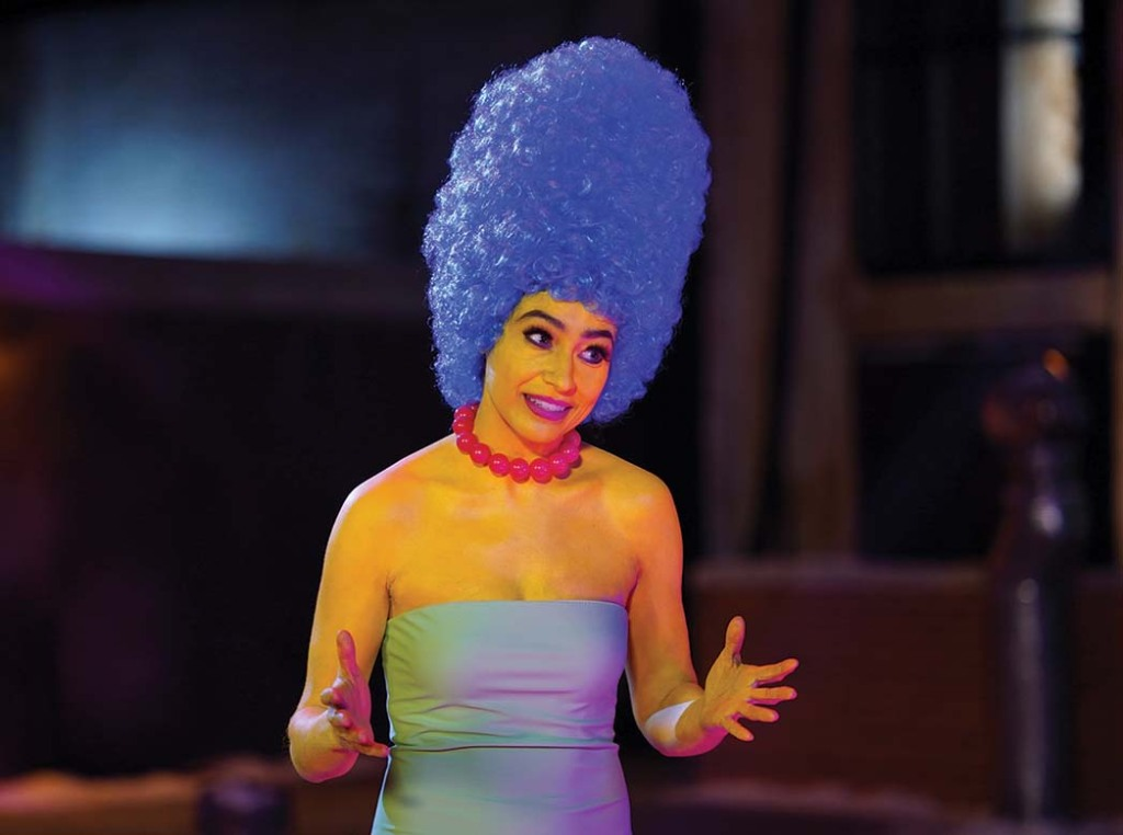 "Melissa Villaseñor as Marge Simpson during the ""Hostage Negotiator"" sketch"