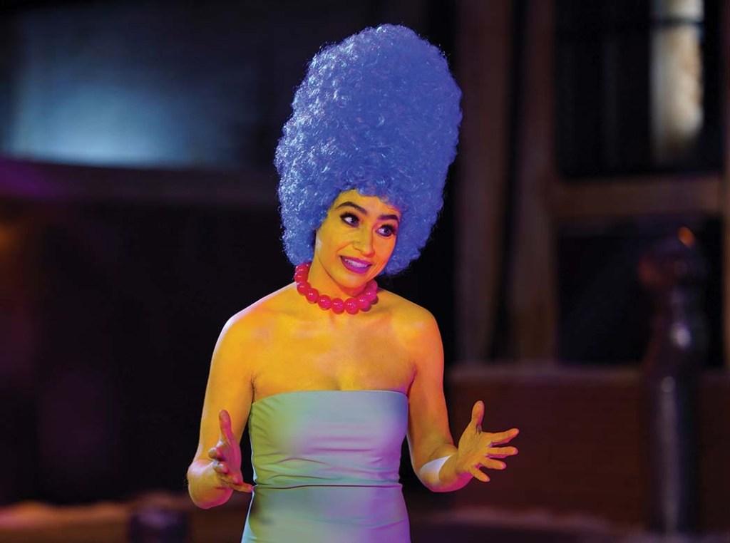 "Melissa Villaseñor as Marge Simpson during the ""Hostage Negotiator"" sketch"