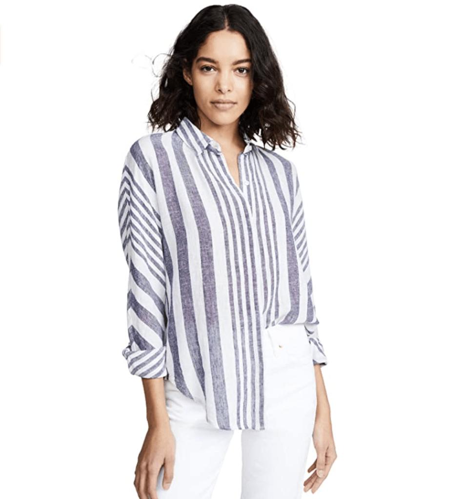 Rails Linen Striped Button-Down Shirt