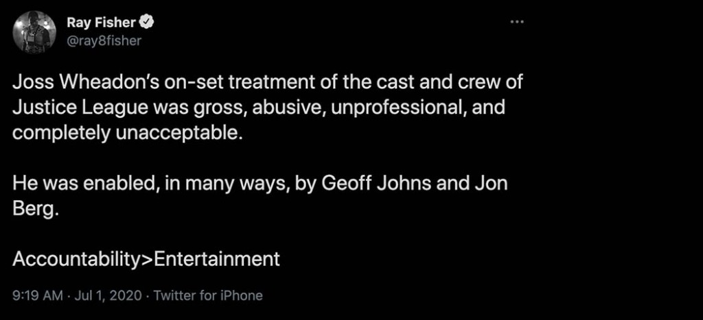 Fisher took to Twitter in June 2020 to accuse director Joss Whedon of abusive behavior on the Justice League set.