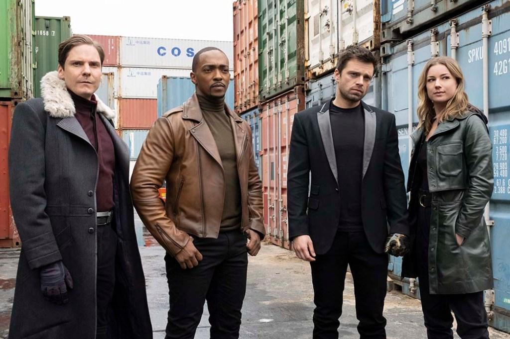 From left: Zemo (Daniel Bruhl), Falcon/Sam Wilson (Anthony Mackie), Winter Soldier/Bucky Barnes (Sebastian Stan) and Sharon Carter/Agent 13 (Emily VanCamp) in Marvel's 'The Falcon and the Winter Soldier'