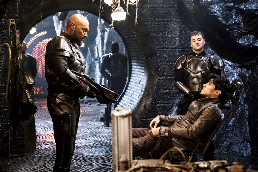Colin Salmon, Killian Coyle and Cameron Cuffe in Syfy's Krypton, which Geoff Johns oversaw.