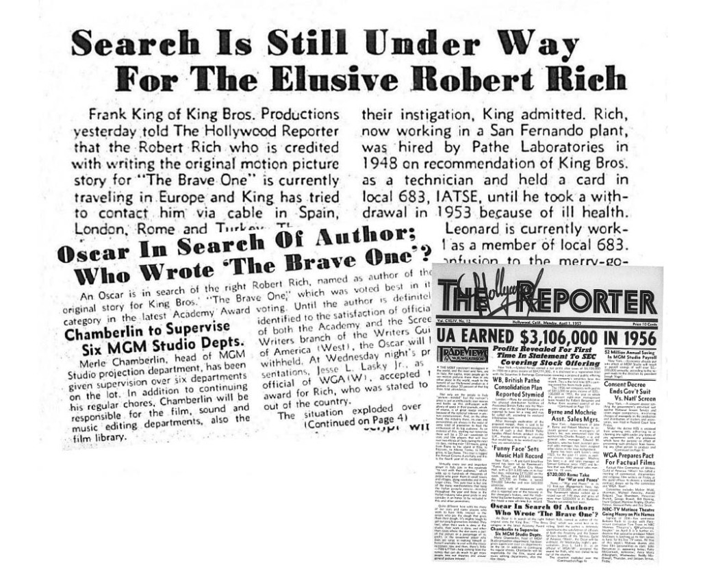 """THR was captivated by the search for """"Robert Rich,"""" the credited writer of the film who never claimed his prize."""