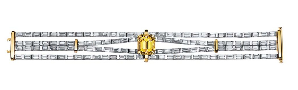 Tiffany & Co: This bracelet features a yellow sapphire totaling more than 11 carats amid baguette-cut diamonds. Anya Taylor-Joy wore the brand at the SAG Awards; price upon request, at Tiffany & Co., Beverly Hills.