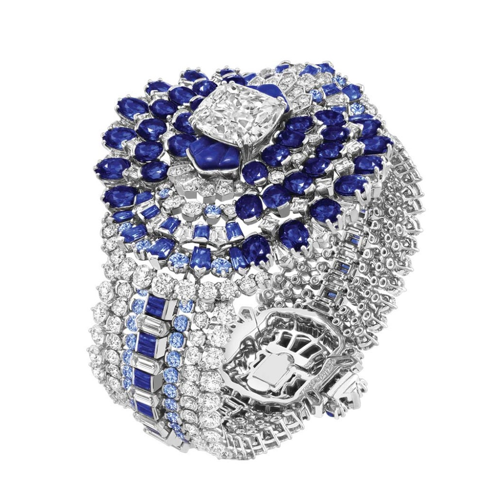 Van Cleef & Arpels: The 8-carat diamond on this lapis lazuli-and-sapphire bracelet can be removed to wear as a ring; price upon request, at Van Cleef & Arpels, Beverly Hills.