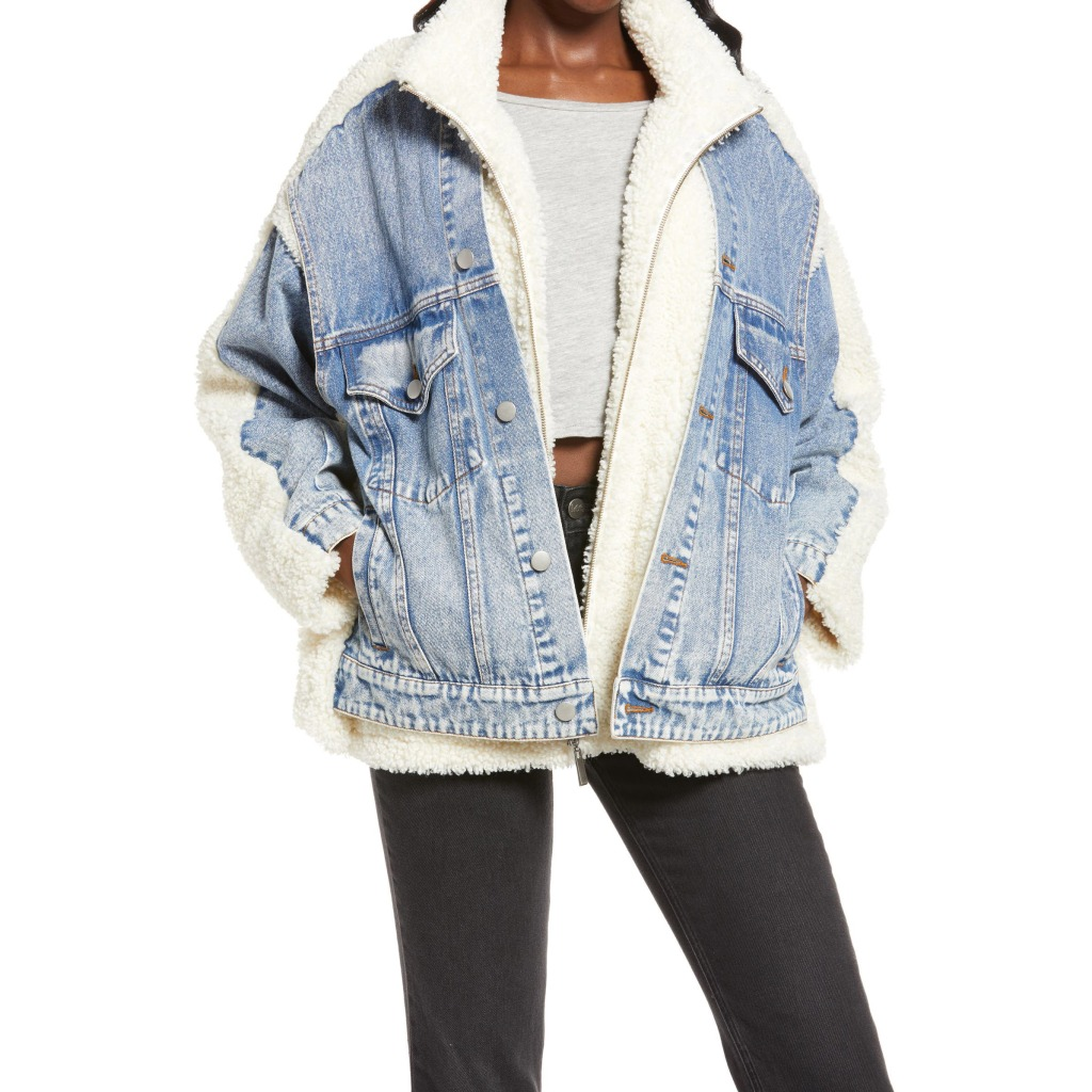 Blank NYC Faux Shearling and Denim Trucker Jacket