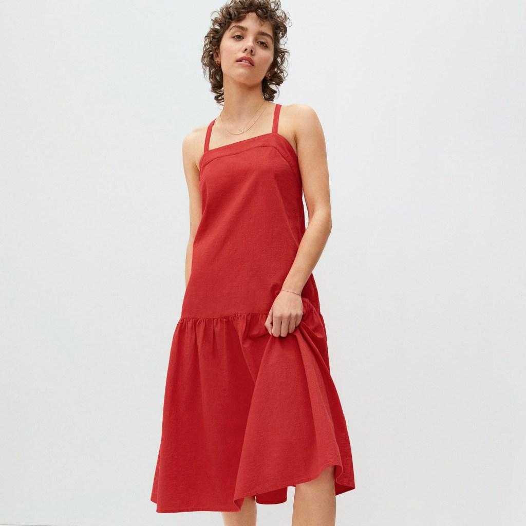 Everlane Red Pinafore Dress