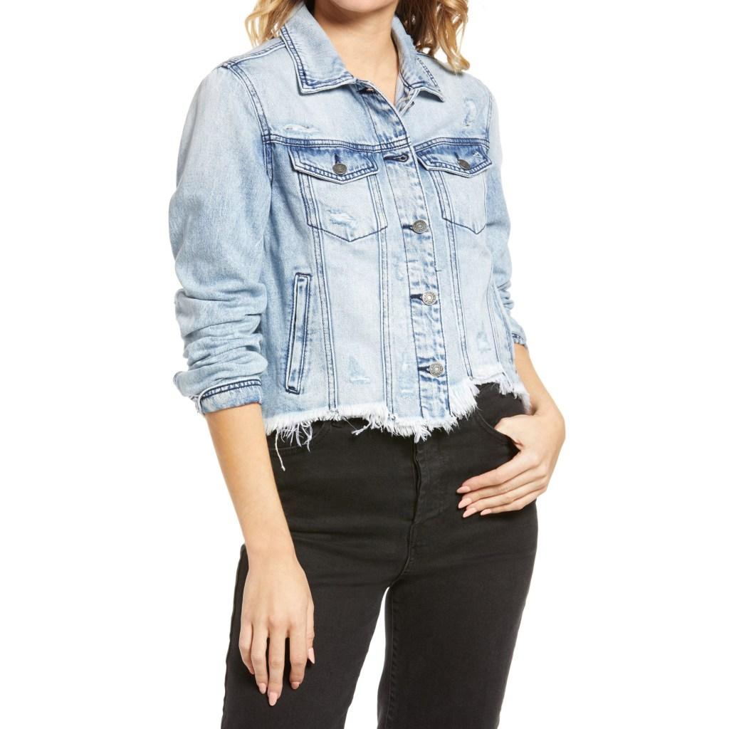 Hidden Jeans Frayed Hem Crop Jacket