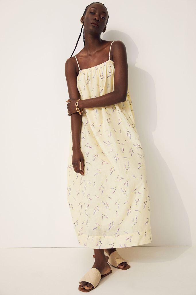 H&M Wildflower Print Linen Blend Conscious Dress