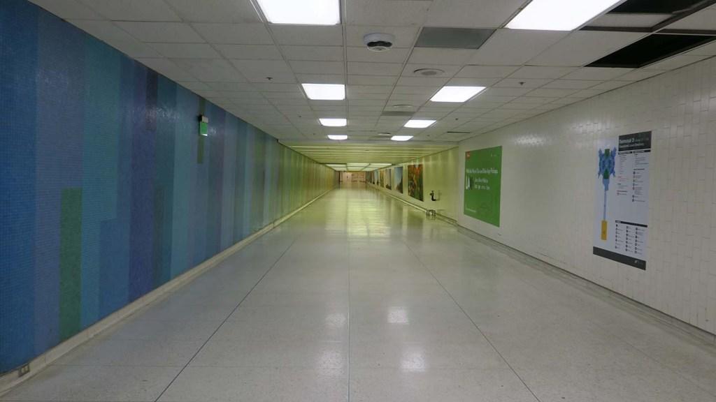 Mosaic tile inside an underground hallway at LAX's Terminal 3.