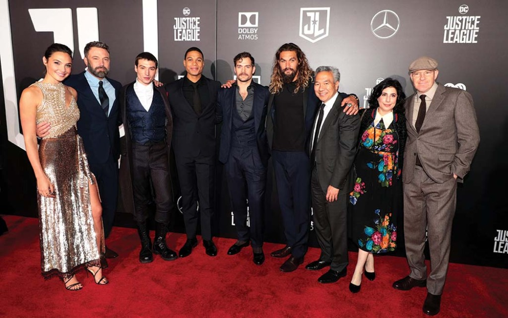 Justice League castmembers with Warner Bros. executives at the film's November 2017 premiere at Los Angeles' Dolby Theatre.