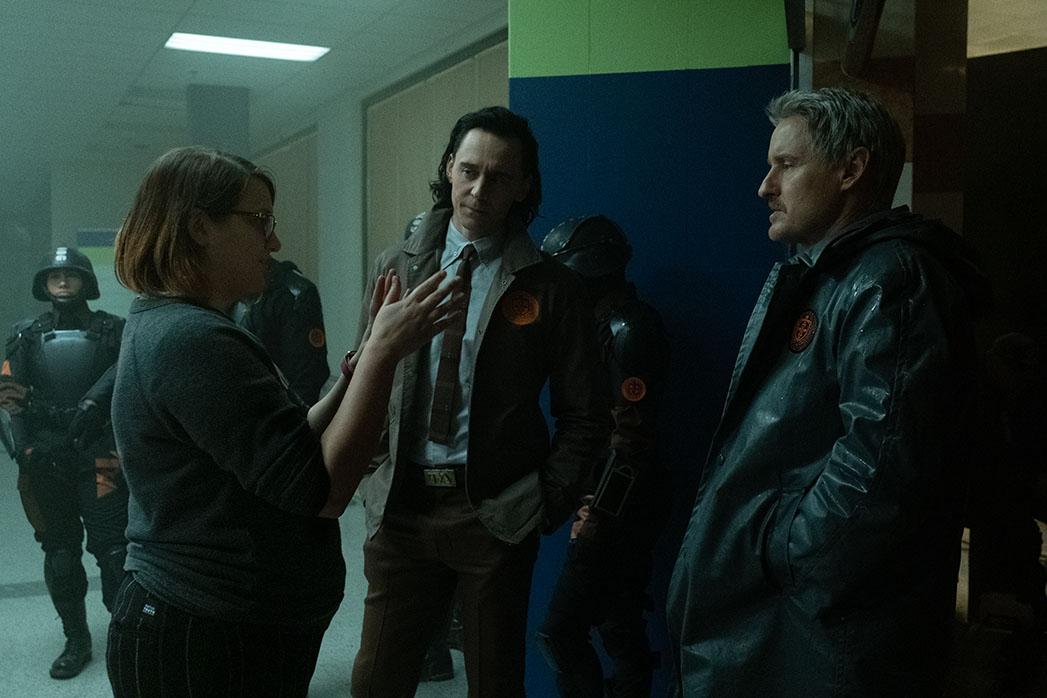 Director Kate Herron, TomHiddleston and Owen Wilson on set of Loki.