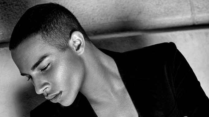 Olivier Rousteing black and white portrait