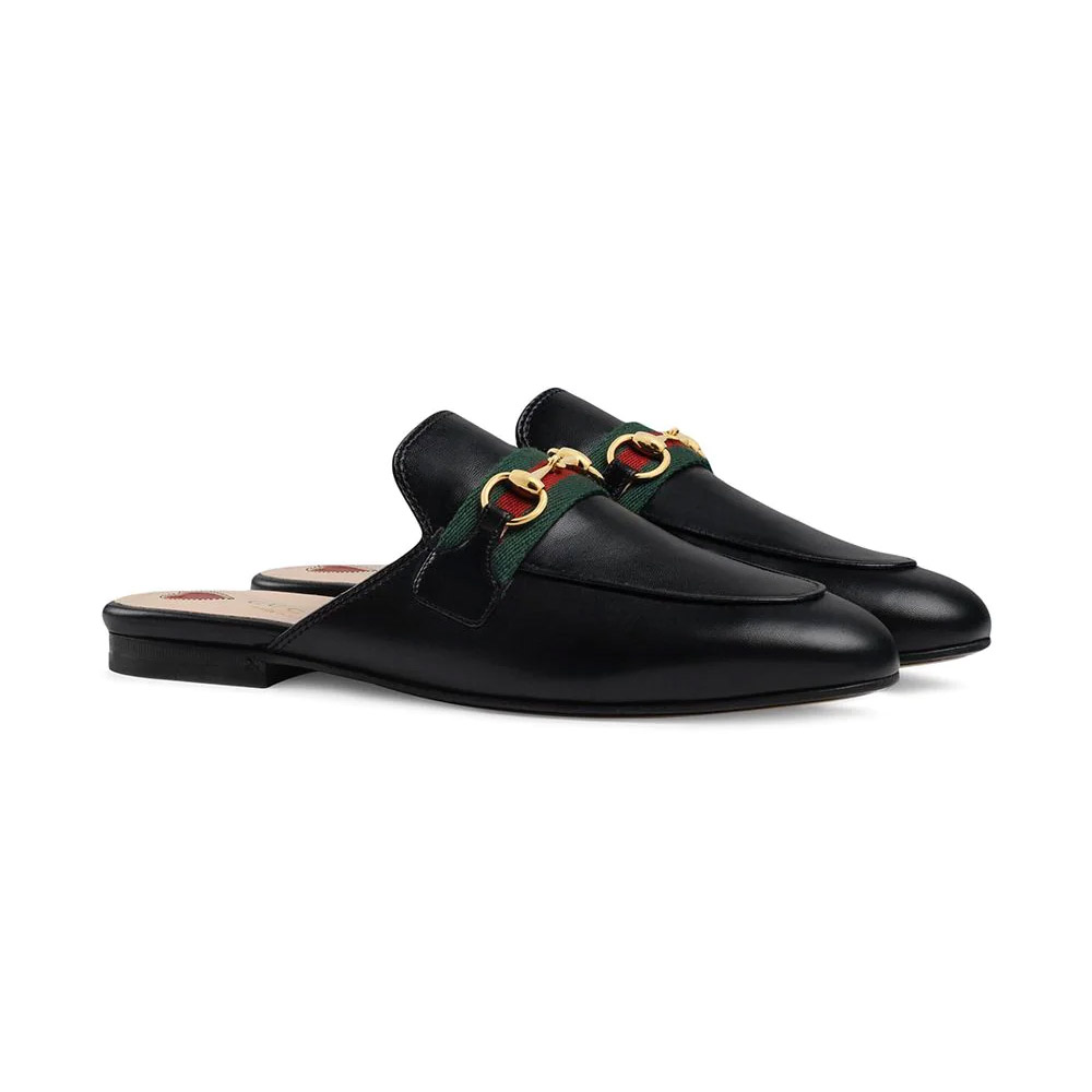 Gucci Princetown Black Leather Women's Mules
