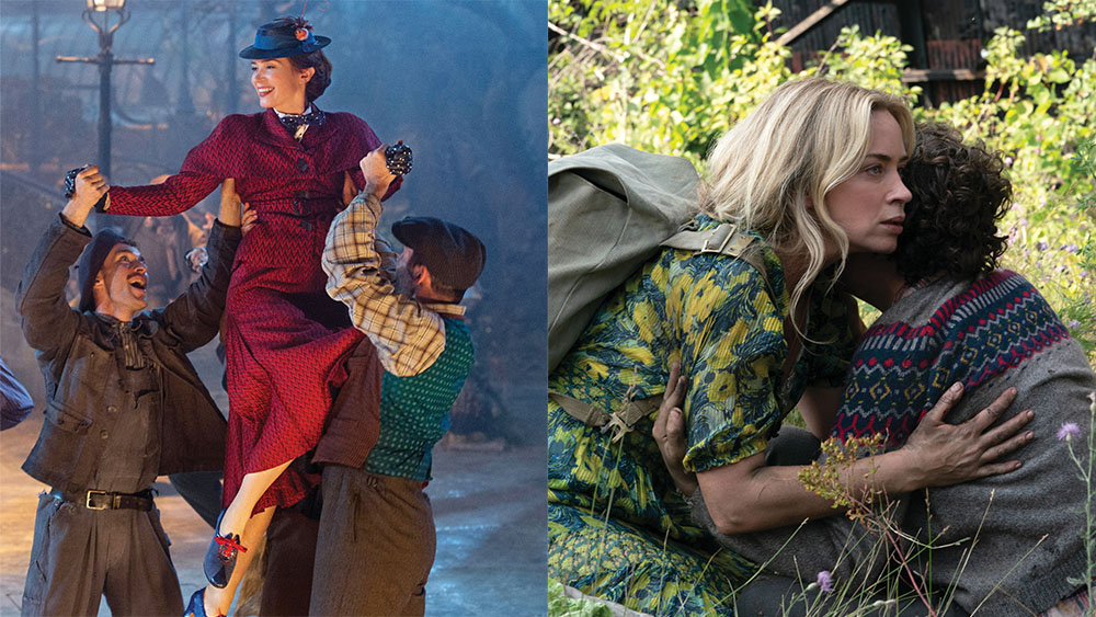 From left: Blunt in 2018's Mary Poppins Returns; with Millicent Simmonds (left) and Noah Jupe in the pandemic-delayed A Quiet Place Part II.