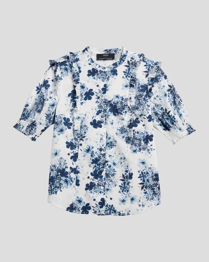 Erdem x Universal Standard Kalina Short Sleeve Ruffle Shirt