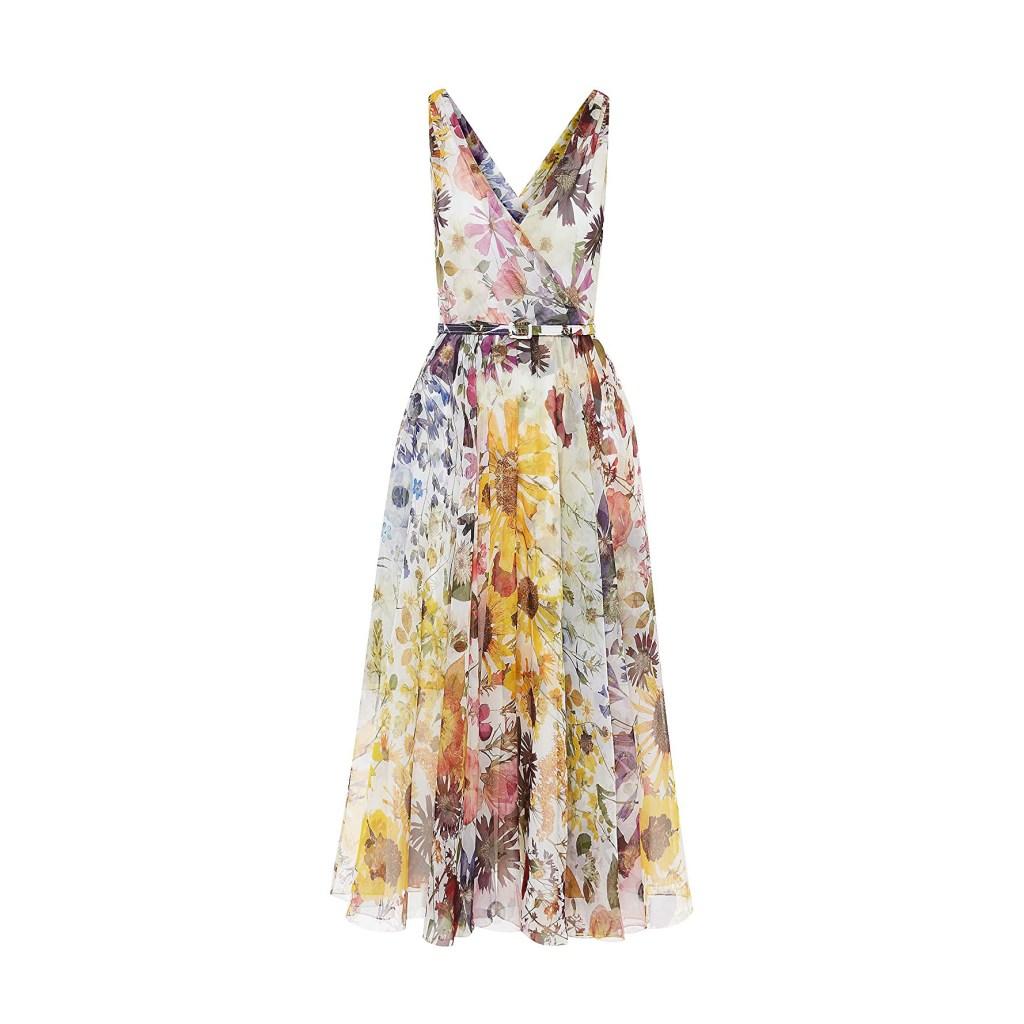 Oscar de la Renta Pressed Flower Chiffon Dress