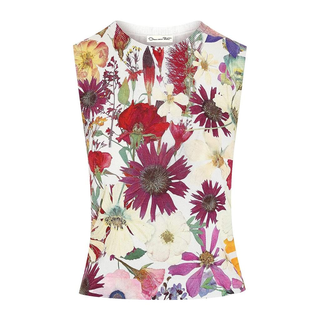 Oscar de la Renta Pressed Flower Printed Knit Tank
