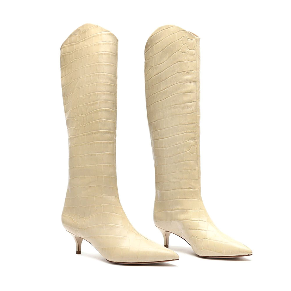 Schutz Maryana White Leather Boots