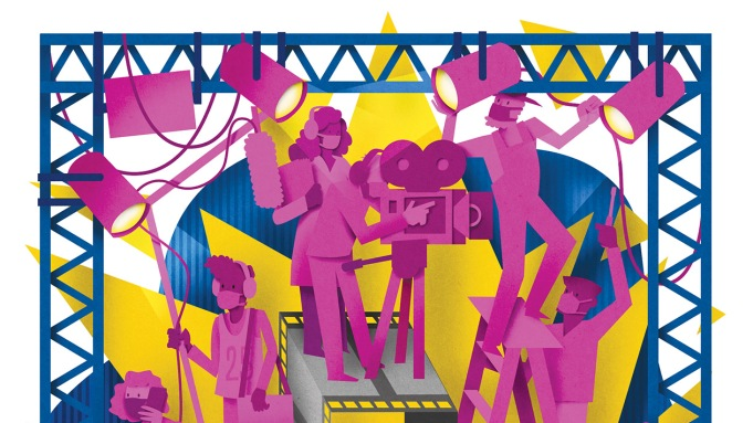 paper cutout illustration of students on