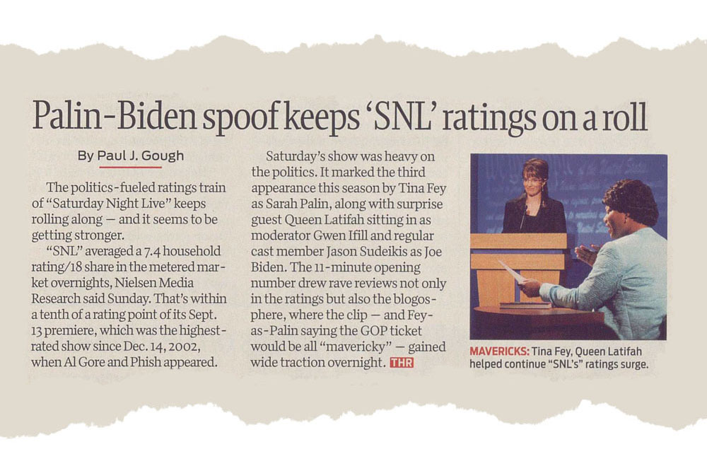 Saturday Night Live - Palin - Biden spoof keeps 'SNL' ratings on a roll.