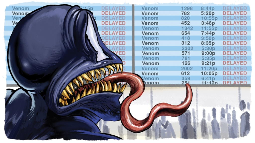 comic book character Venom looks at a movie theater time board