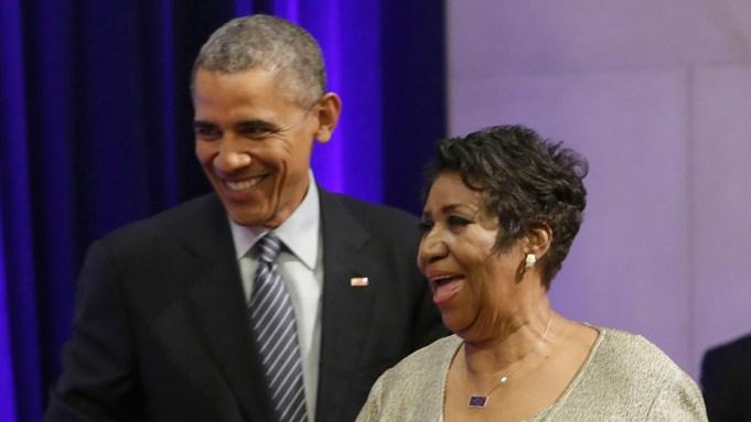 President Barak Obama and Aretha Franklin