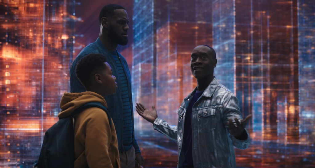 Cedric Joe, LeBron James and Don Cheadle in Space Jam: A New Legacy