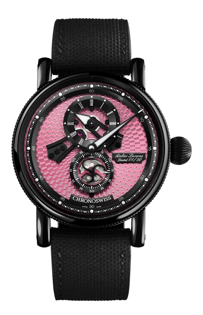 A guillochéd dial is heat-treated to achieve its hue on the 41mm Flying Regulator Open Gear Pink Panther; $10,200, at Feldmar Watch Co., Los Angeles