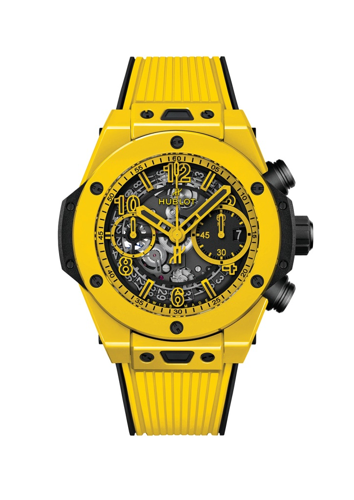 The 42mm Big Bang Unico Yellow Magic by Hublot, a brand Jay-Z wears, is crafted with a skeleton dial; $26,200, at Hublot, New York City andBeverlyHills