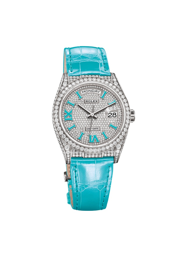 Rolex watch The Oyster Perpetual Day-Date 36 is housed in a 36mm case adorned with 306 diamonds