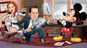 Illustration with Black widow star and mickey mouse