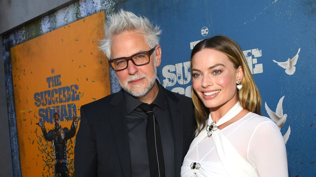 James Gunn and Margot Robbie attend the premiere of 'The Suicide Squad' at the Regency Theatre in Los Angeles, California on August 2, 2021.