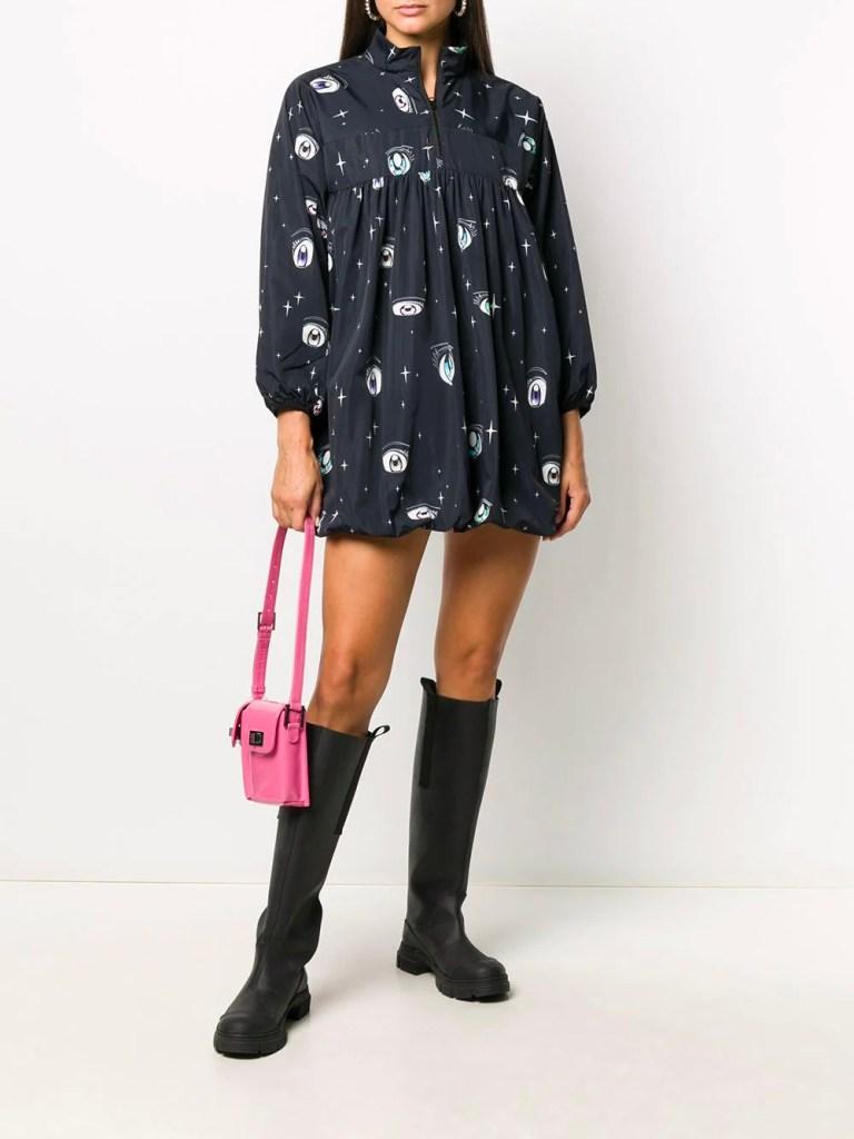 Sandy Liang Eye Print Mini Dress