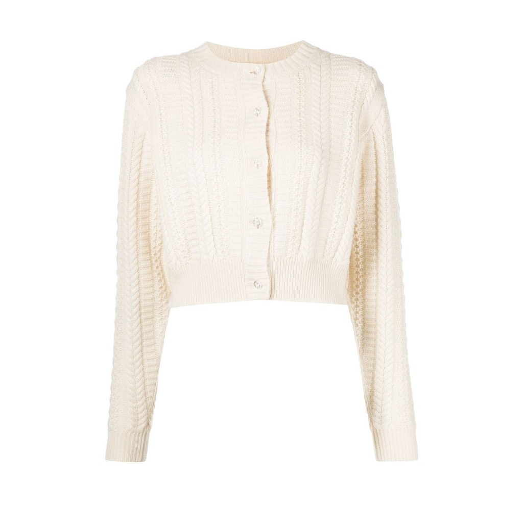 Sandy Liang Shrunken Cable-Knit Cardigan