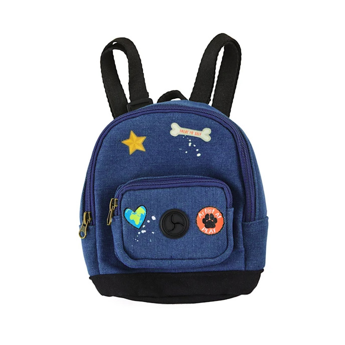Youly The Artist Denim Patchwork Dog Backpack